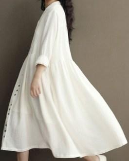 Oversized Shift Long Sleeve V Neck Buttons Long Dress