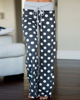 Palazzo Pants Pyjama Lounge Pants Women Polka Dot Drawstring Straight Leg Pants