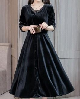 V Neck Lace Buttons Long Party Dress