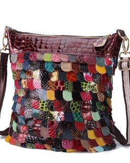 Bohemian Floral Genuine Leather Handbags Bright Crossbody Bags