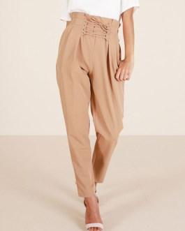Women Casual Pants Lace Up High Waist Khaki Tapered Leg Pants