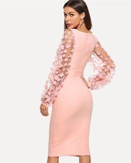 Women Casual Pink Elegant Party Flower Applique Contrast Dress