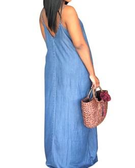 Women Faded Denim Maxi Dress