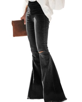 Women Flared Bell Ripped Pants
