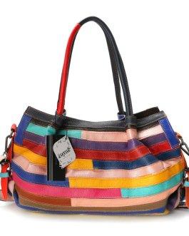 Women Genuine Leather Floral Crossbody Bag Large Capacity Vintage Handbag