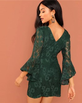 Women Going Out Flounce Sleeve Guipure Lace Sheer Bodycon Dress