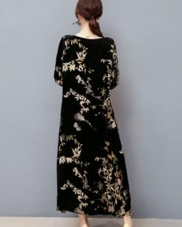 Women Long Shift Floral Print Velour Long Dress