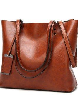 Women PU Leather Handbag Vintage Shoulder Bag Tote Bag