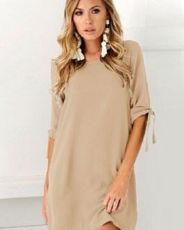 Women Round Neck Half Sleeve Shift Short Dresses