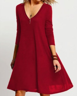 Women Shift Long Sleeve Plunging Midi Dress