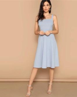 Zip Back Fit and Flare Sleeveless Elegant Tank Midi Dress