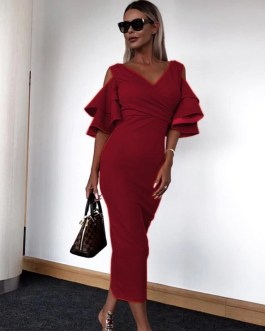 Butterfly Short Sleeve Off Shoulder Bodycon Party Dress