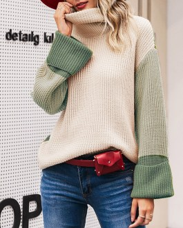 Casual Turtleneck Patchwork Sweaters