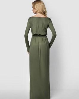 Elastic Waist Pleated Cotton Long Dress