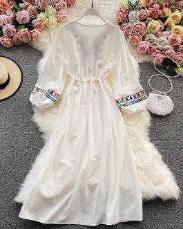 Elegant Ethnic Bohemian Clothes Beach Dress