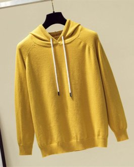 Knitted Cashmere Jumper Long Sleeve Solid Top