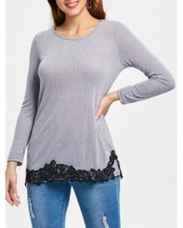 Lace Hem Long Sleeve T-Shirt