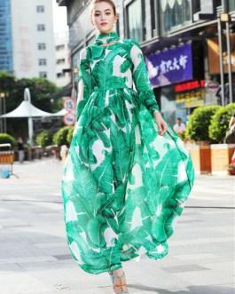 Long Sleeve Printed Lace Up Long Dress
