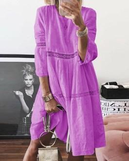 O Neck Three Quarter Sleeve Plus Size Party Dress