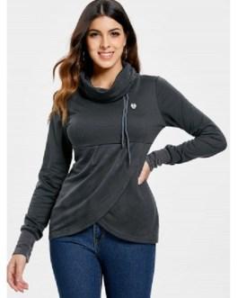 Petal Hem Drawstring Embroidered Sweatshirt