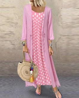 Polka Dot Print O Neck Long Sleeve Plus Size Maxi Dress