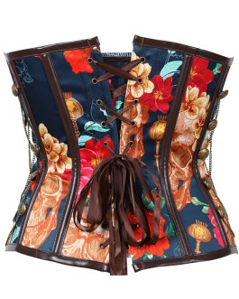 Retro Floral Steel Boned Lace Up Back Cinching Chains Corset