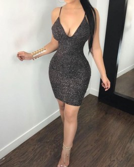Sexy V Neck Backless Cut Out Shaping Mini Club Dress