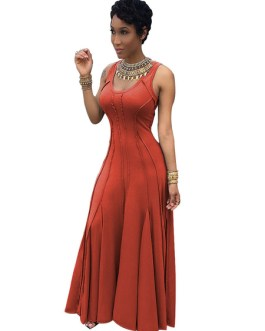 Sleeveless Pleated U Neck Long Dresses