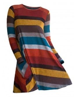 Striped Long Sleeve Long line Knitwear