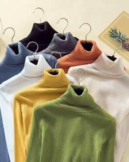 Sweaters Casual Turtleneck Solid Cashmere Pullover Top