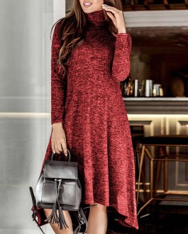 Turtleneck Warm Casual Long Sleeve Solid Maxi Party Dress