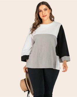 Bell Sleeve Casual Abaya Plus Size Blouses