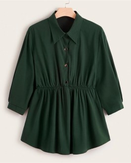 Front Smock Peplum Casual Plus Size Long Blouses