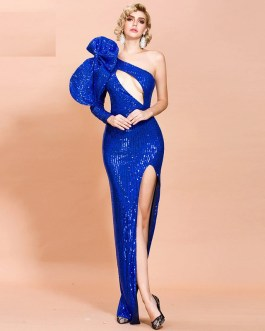 Sexy Irregular Neck Hollow Out Sequin Dresses