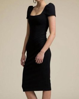Square Neck Cut Out Short Sleeves Stretch Semi Formal Party Dresses