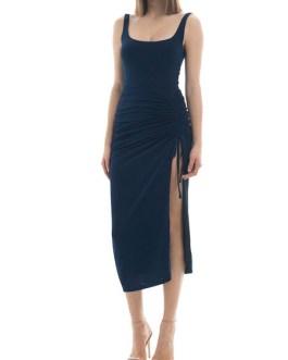 Square Neck Split Front Sleeveless Drawstring Semi Formal Party Dresses