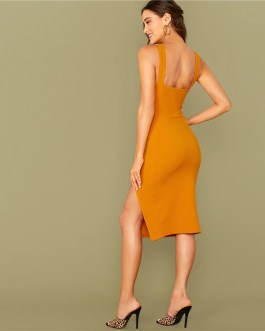 Sleeveless Sexy Thick Strap Night Out Bodycon Dress