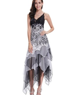 Spaghetti Strap Tulle Tiered Irregular Party Dress