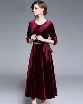 Vintage Velvet Evening Party Dress