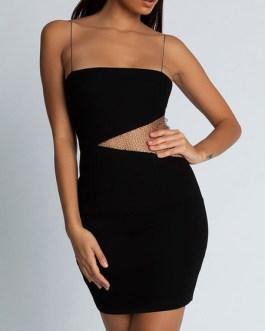 Straps Neck Zipper Sleeveless Semi Formal Party Dresses