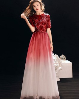 A Line Crewneck Tassels Formal Party Dresses