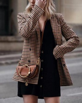 Fashion double breasted plaid slim fit office ladies blazer