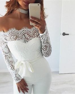 Floral Lace Long Sleeve Jumpsuit Romper