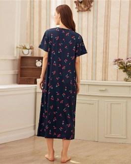 Fruit And Vegetable Print Short Sleeve Cute Night Dress