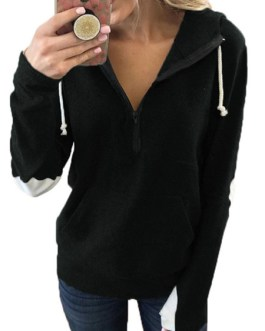 Hoodie Elbow Patch Long Sleeves Hooded Sweatshirt