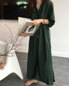 Jewel Neck Buttons Layered Cotton Maxi Dresses