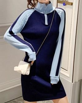 Modern Two Tone Zipper High Collar Long Sleeves Knitted Dress
