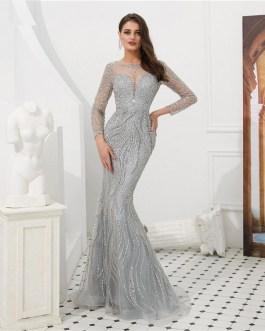 Sexy Sheer Long Sleeve Crystal Beaded Mermaid Evening Dress