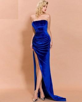 Sexy Slash Elegant High Split Maxi Dress