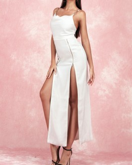 Straps Neck Split Front Sleeveless Layered Semi Formal Party Dresses
